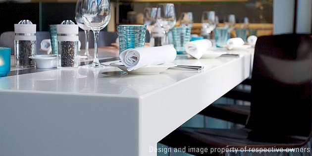 DuPont™ Corian® solid surface can be found through the Radisson SAS Hotel in the