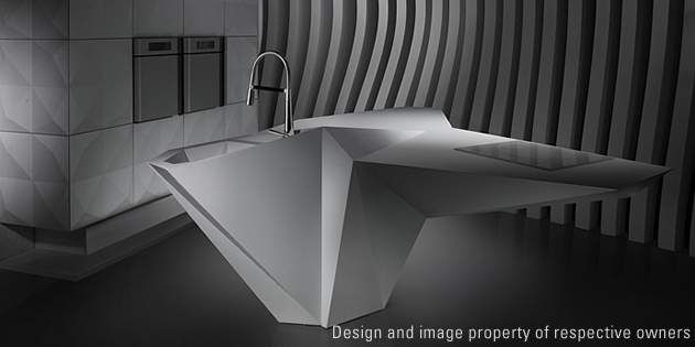 Origami kitchen by Amr Helmy Designs, design Karim Rashid; photo Amr Helmy Desig