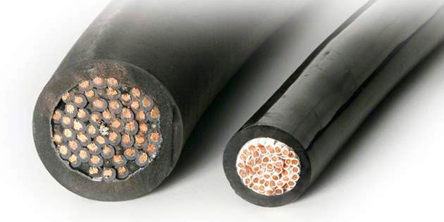 Cable insulated with Hytrel® compared to rubber