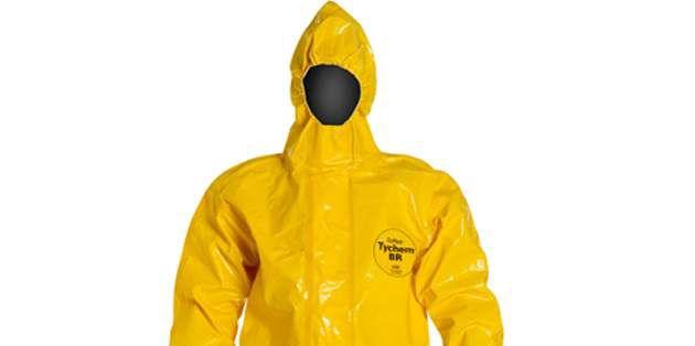 乐天堂体育投注™ Tychem® BR 胶条密封型化学品防护服, 亮黄色面料可视性程度很高