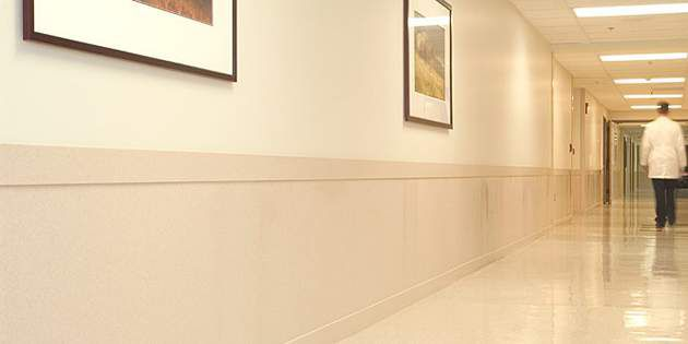 Hospital walls feature Corian® interior wall surfacing.