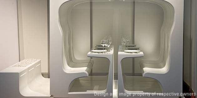 Dining By Design creates a unique table and seating design using DuPont™ Corian®