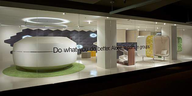 Steelcase used Corian® solid surfaces to design a concept meeting space –offerin