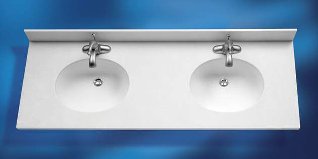100 Series Double Vanity Tops And Bowls · DSP_Corian_RTI_CameoWhite_Double  Sink_Vanity_630x315