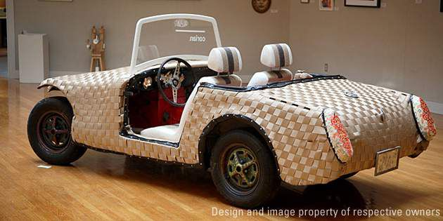"Turning a junk car into a piece of art: the ""Woven Car"" was made with versions o"