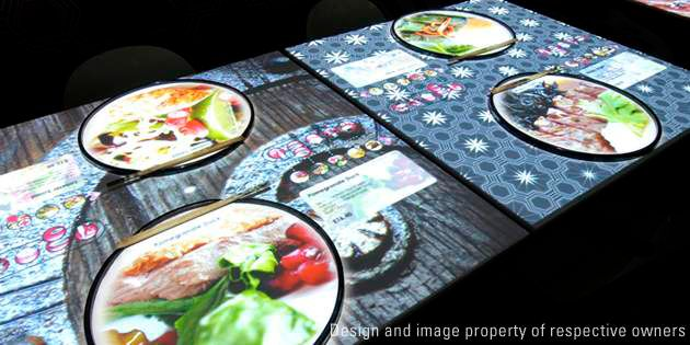Modern Interactive Table Tops at Inamo