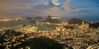 View from mountain top of Rio de Janeiro, brasil at night.