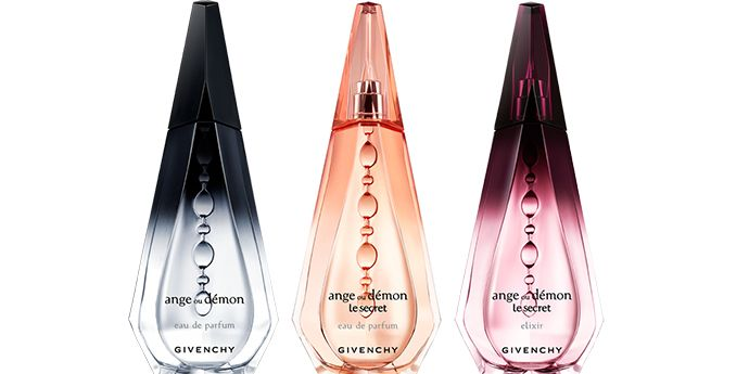 "Cosmetic Packaging Renewal; Shown: Three colors of the ""Ange ou Démon"" perfume by Givenchy"