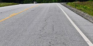 Road with fatigue cracking