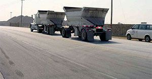 Heavy truck pavement at rock quarry in Texas; made with Elvaloy® RET