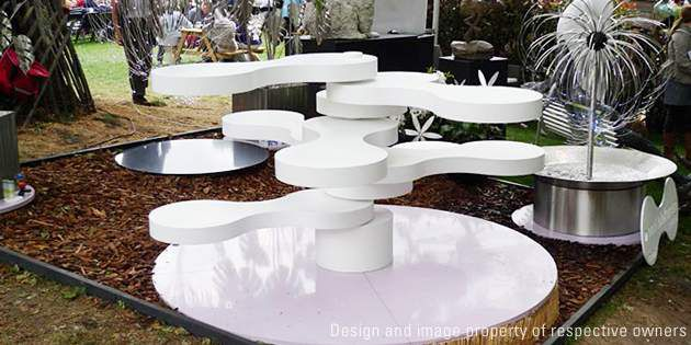 """Spinning Seats"" installation, Chelsea Flower Show 2009, London, UK; design and"