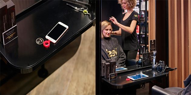 Yes! hairdressing salons with Corian® Charging Surface