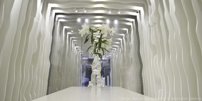 Corian® is used to create exceptional jagged effects for the decorative wall cladding